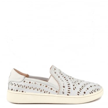 Cas White Perforated Slip On Trainer
