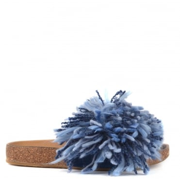 Cindy Dark Denim Yarn Fringe Slide