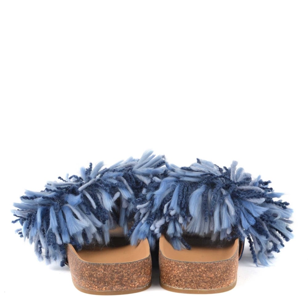 778f2a42b8c UGG Cindy Dark Denim Yarn Fringe Slides