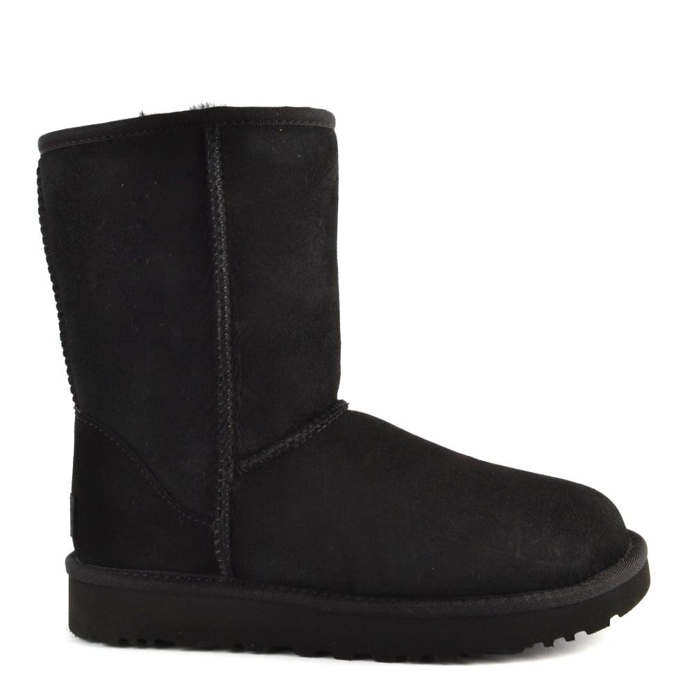 UGG Classic Short II Black Suede Boot