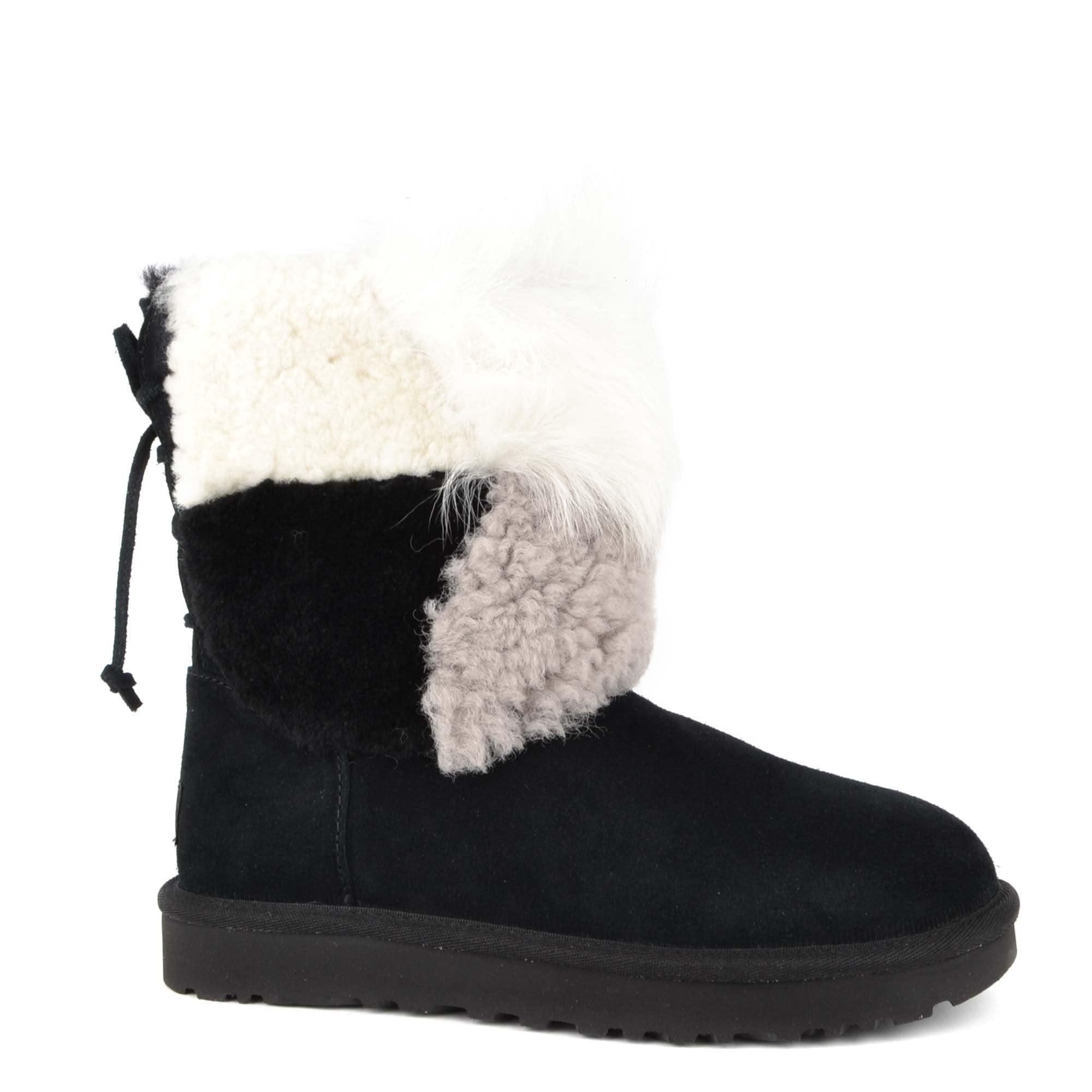 Short Patchwork Black Fluff Boots