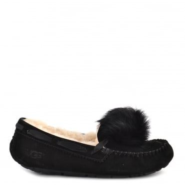 Dakota Black Pom Pom Slipper