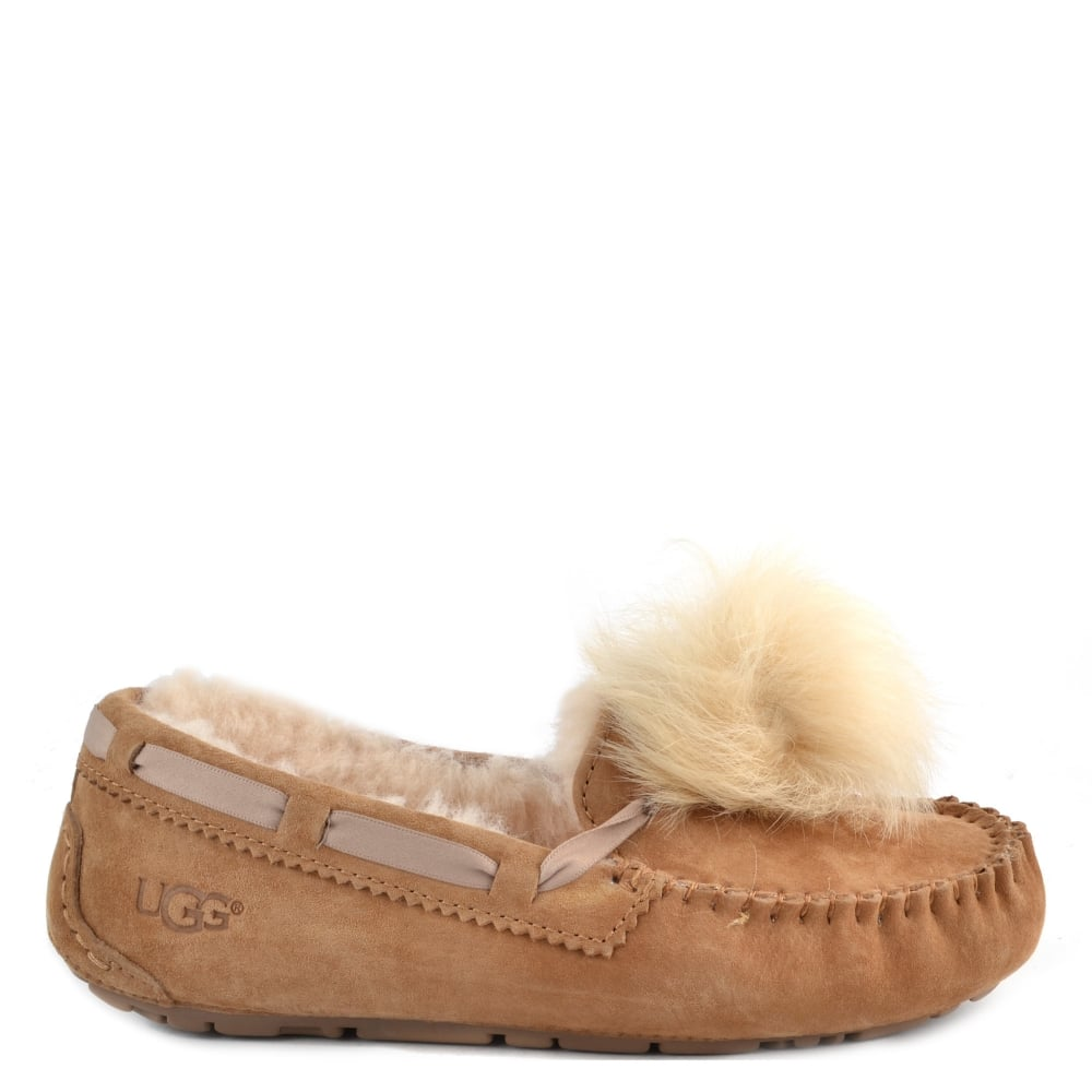 8fe53bd053 UGG Dakota Chestnut Pom Pom Slipper