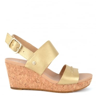 Elena II Metallic Soft Gold Wedge Sandal