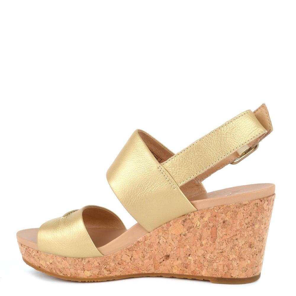 da36a08f6f2d Elena II Metallic Soft Gold Wedge Sandal