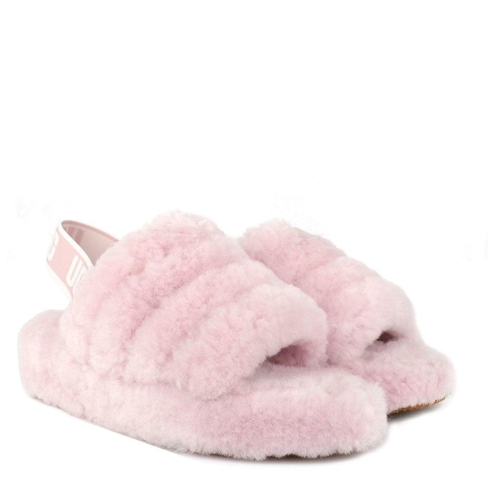 e8474797e0e UGG Fluff Yeah Seashell Pink Logo Slide Sandal