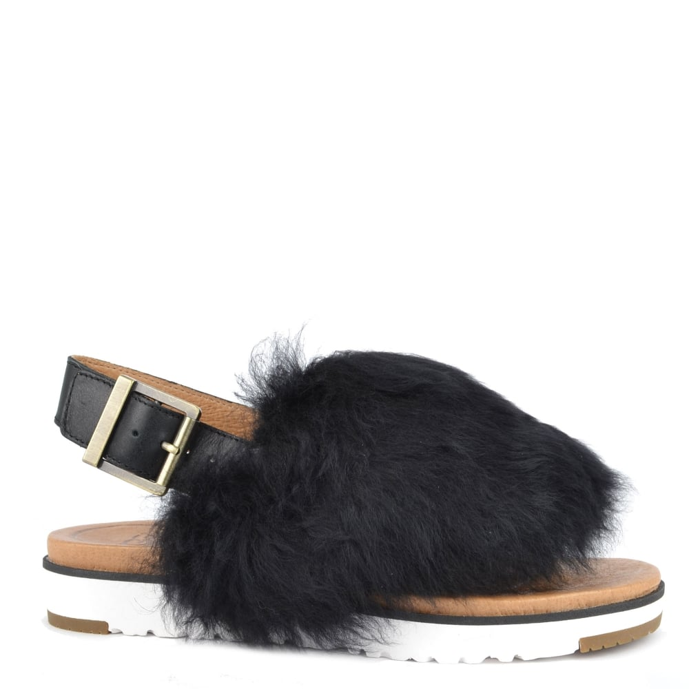 Holly Black Fluffy Sandal