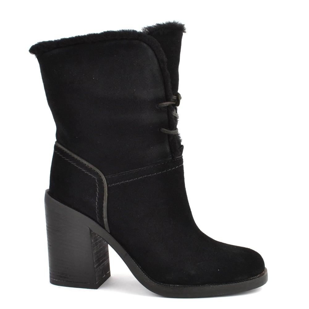 UGG Jerene Black Suede Heeled Boot