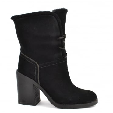 Jerene Black Suede Heeled Boot