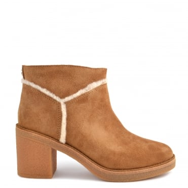 Kasen Chestnut Suede Heeled Ankle Boot