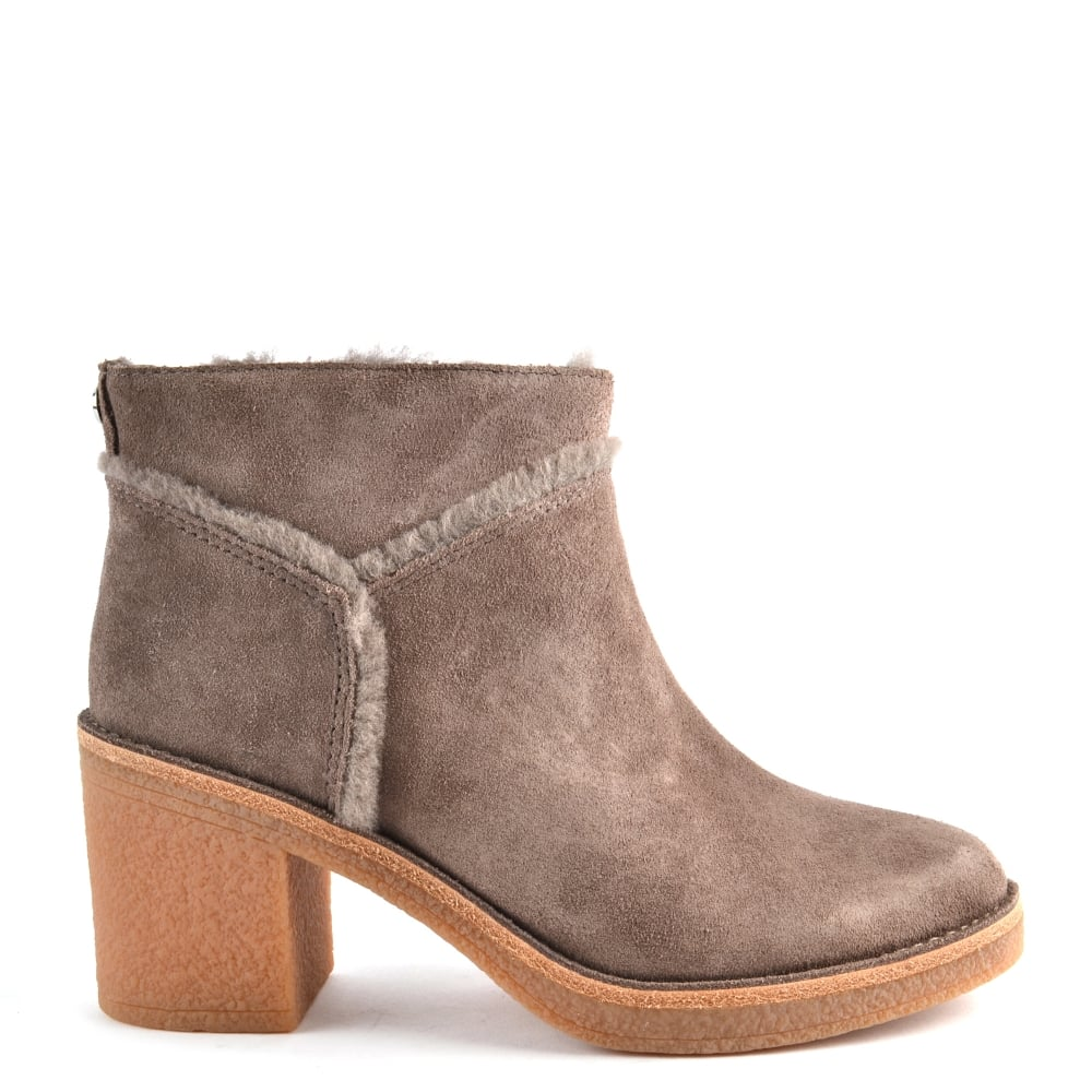 0cd52f932dd Kasen Mouse 'Taupe' Suede Heeled Ankle Boot