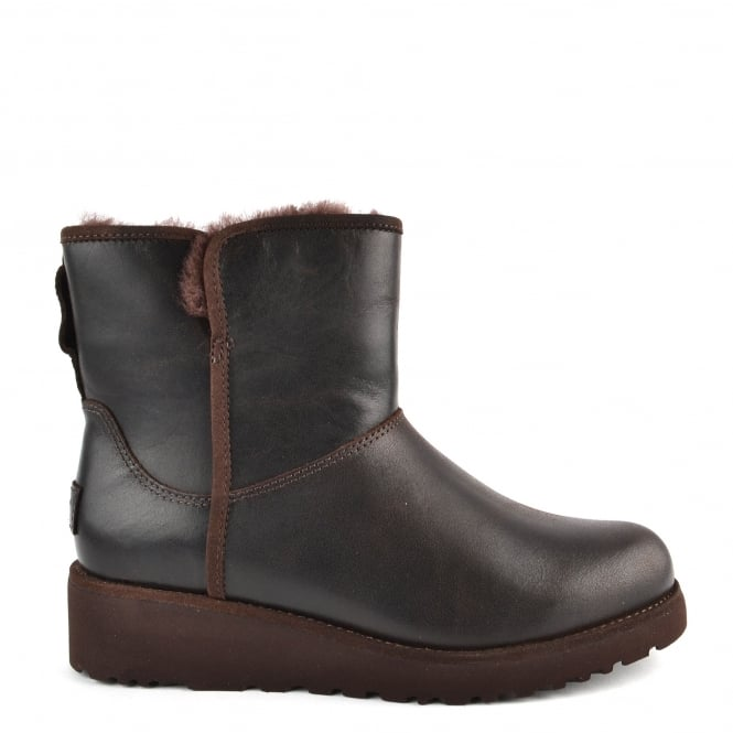 UGG Kristin Classic Slim Stout 'Brown' Leather Sheepskin Boot