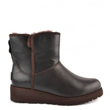 Kristin Classic Slim Stout 'Brown' Leather Sheepskin Boot