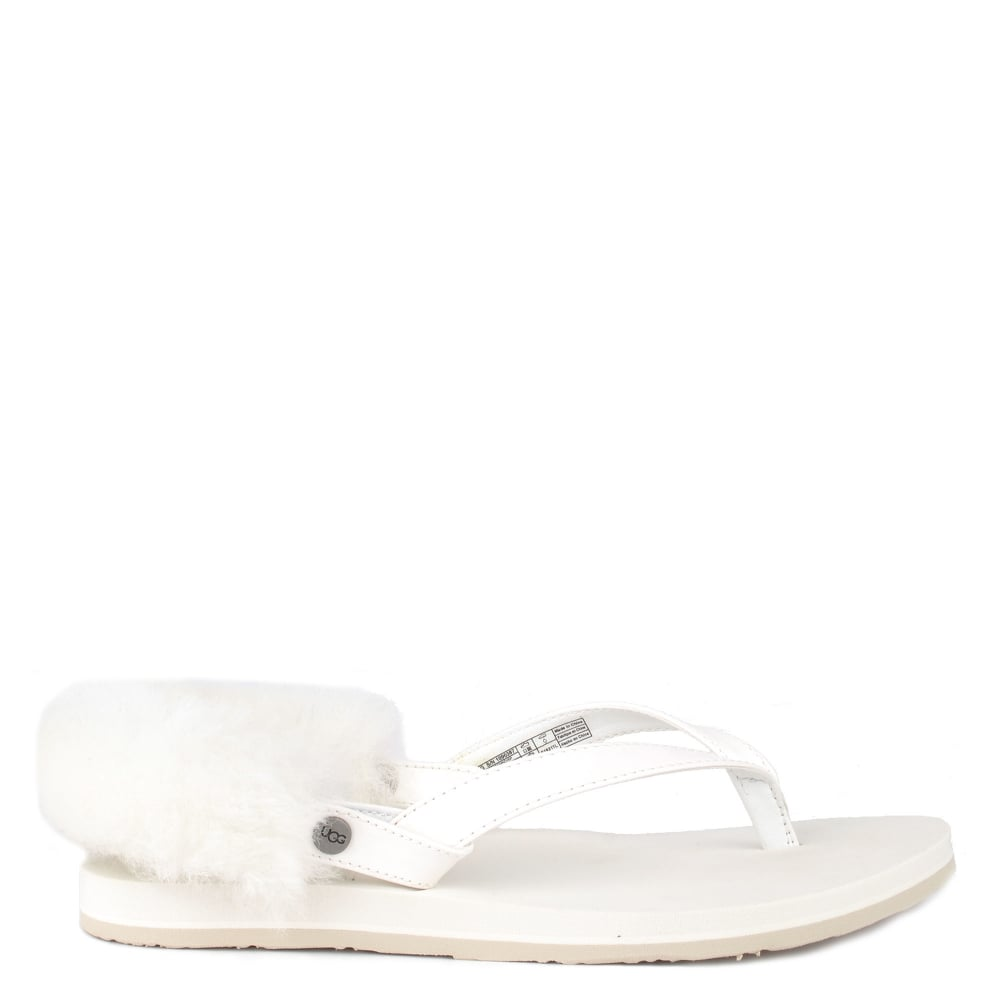9f8c8f675bf4 UGG LAALAA White Faux Patent Thong Sandal