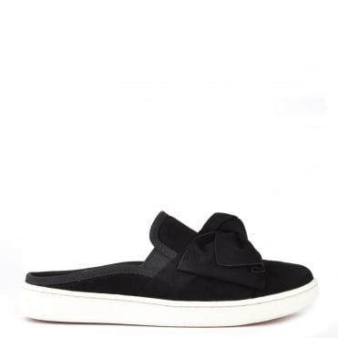Luci Bow Black Suede Slip On Trainer