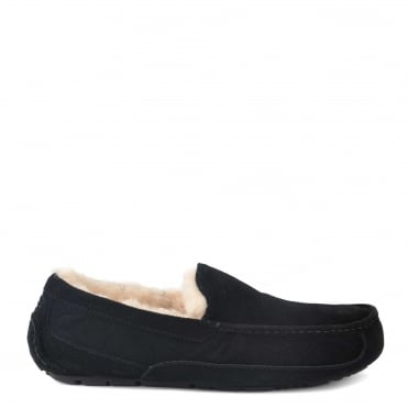 Mens' Ascot Black Suede Slipper