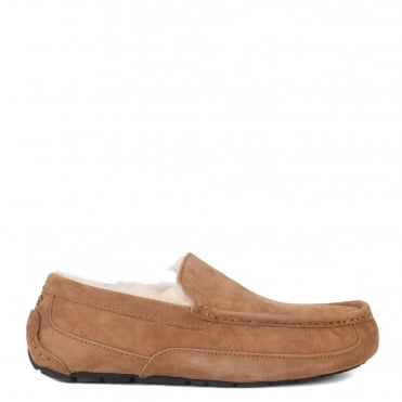 Mens' Ascot Chestnut Suede Slipper