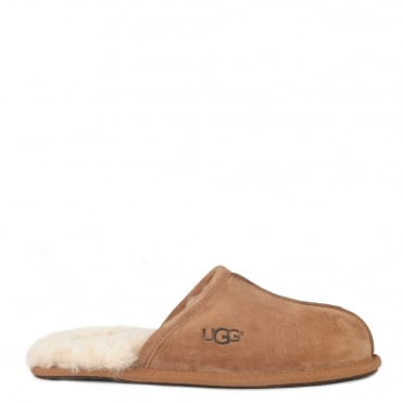 Mens' Scuff Chestnut Suede Slipper