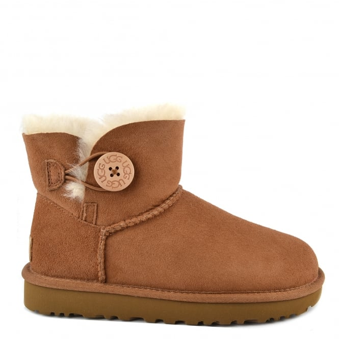 UGG Mini Bailey Button II Chestnut Suede Boot