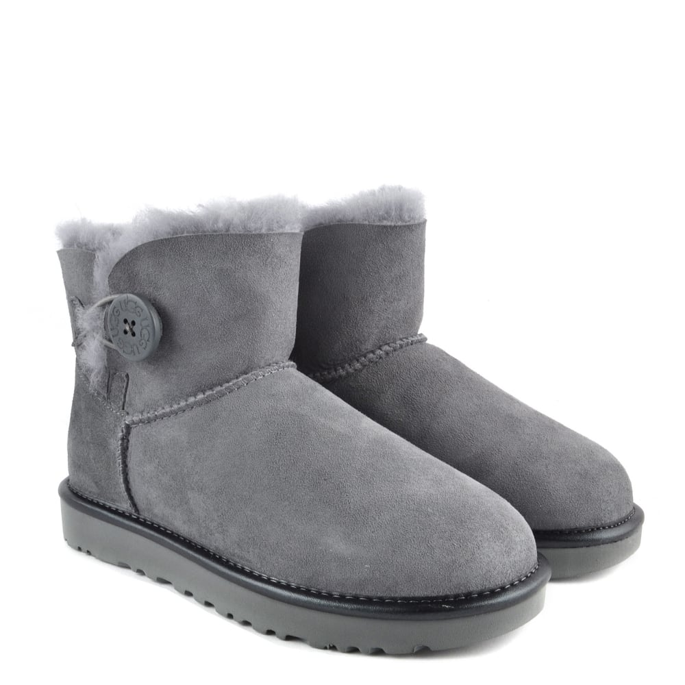 fcca0142539 UGG Mini Bailey Button II Metallic Geyser Suede Boot
