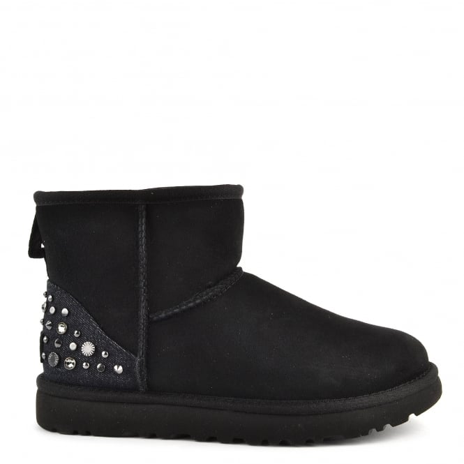 UGG Mini Studded Bling Black Suede Boot