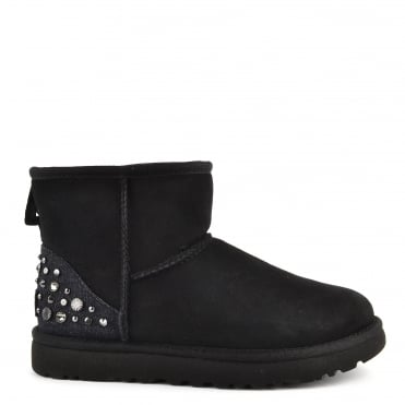 Mini Studded Bling Black Suede Boot