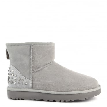 Mini Studded Bling Grey Suede Boot