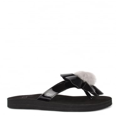 Poppy Black Flower Flip Flop