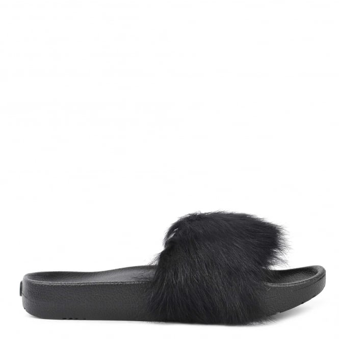 UGG Royale Black Fluffy Slide