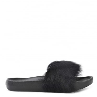 Royale Black Fluffy Slide