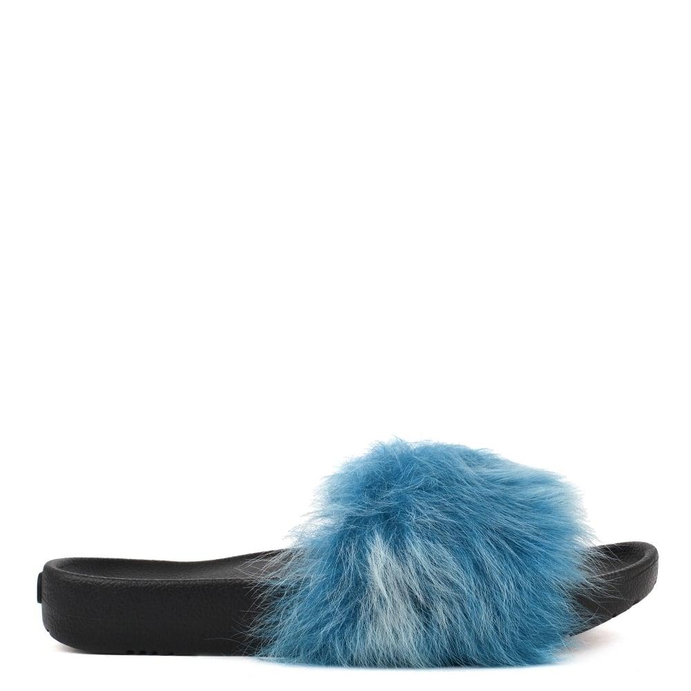 ef2b43be1 Royale Tipped Enamel Blue Slides UGG® Sienna Rubber Shearling ...