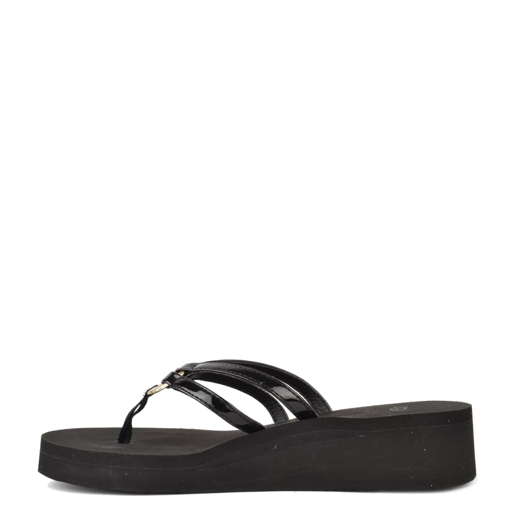 8b362474788c UGG SANDIE Black Thong Wedge Flip Flop