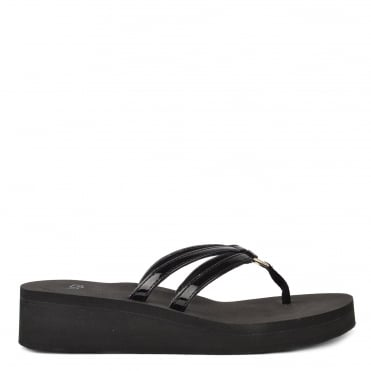 Sandie Black Thong Wedge Flip Flop