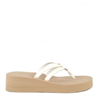 Sandie White Thong Wedge Flip Flop