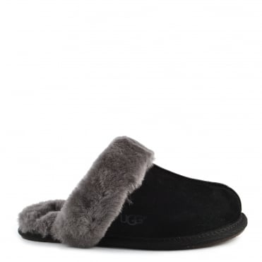 Scuffette II Black & Grey Suede Slipper