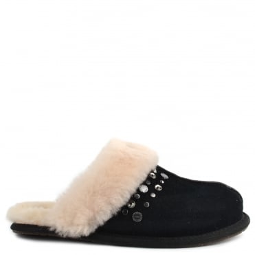 Scuffette II Black Studded Slipper