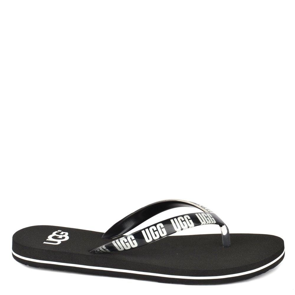 e260eab67555 UGG Simi Black Graphic Logo Flip Flop