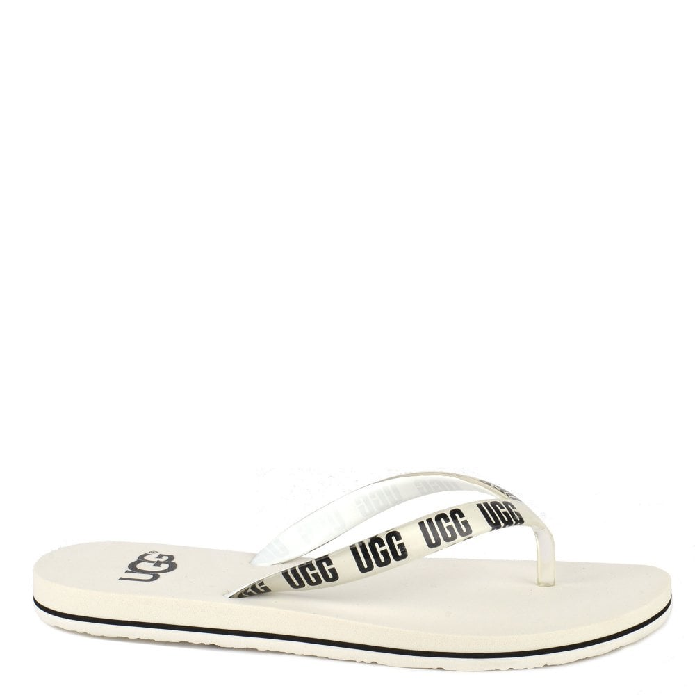 a7ab47fdc502 UGG Simi White Graphic Logo Flip Flop