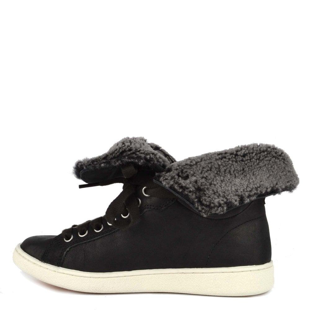 d866fd482e8 Starlyn Black Leather Sheepskin Trainer