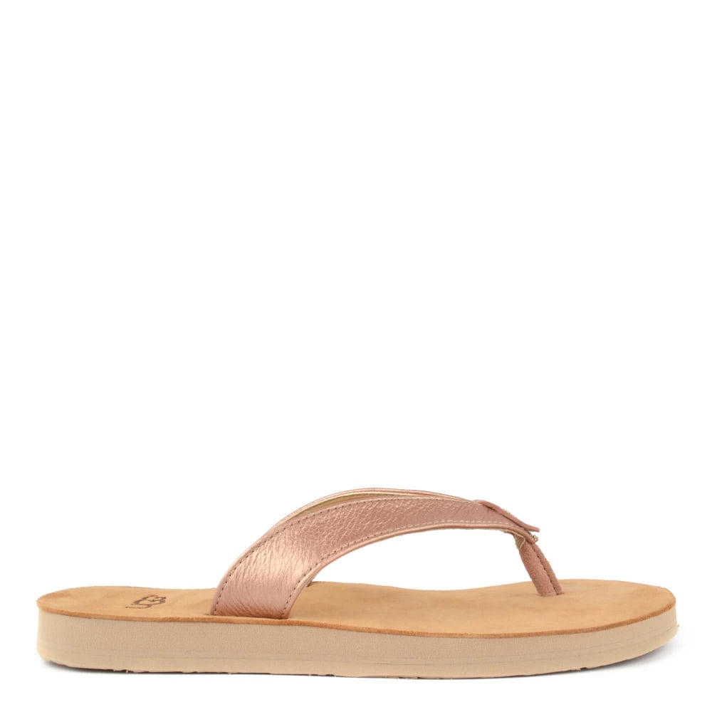 75648bb5e0be7c UGG Tawney Metallic Rose Gold Flip Flop
