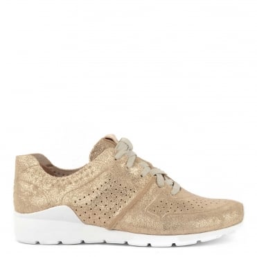 Tye Stardust Gold Leather Trainer
