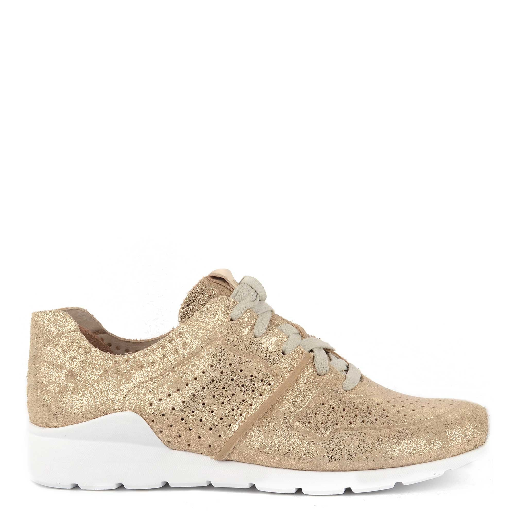 UGG Tye Stardust Leather Trainers in Gold