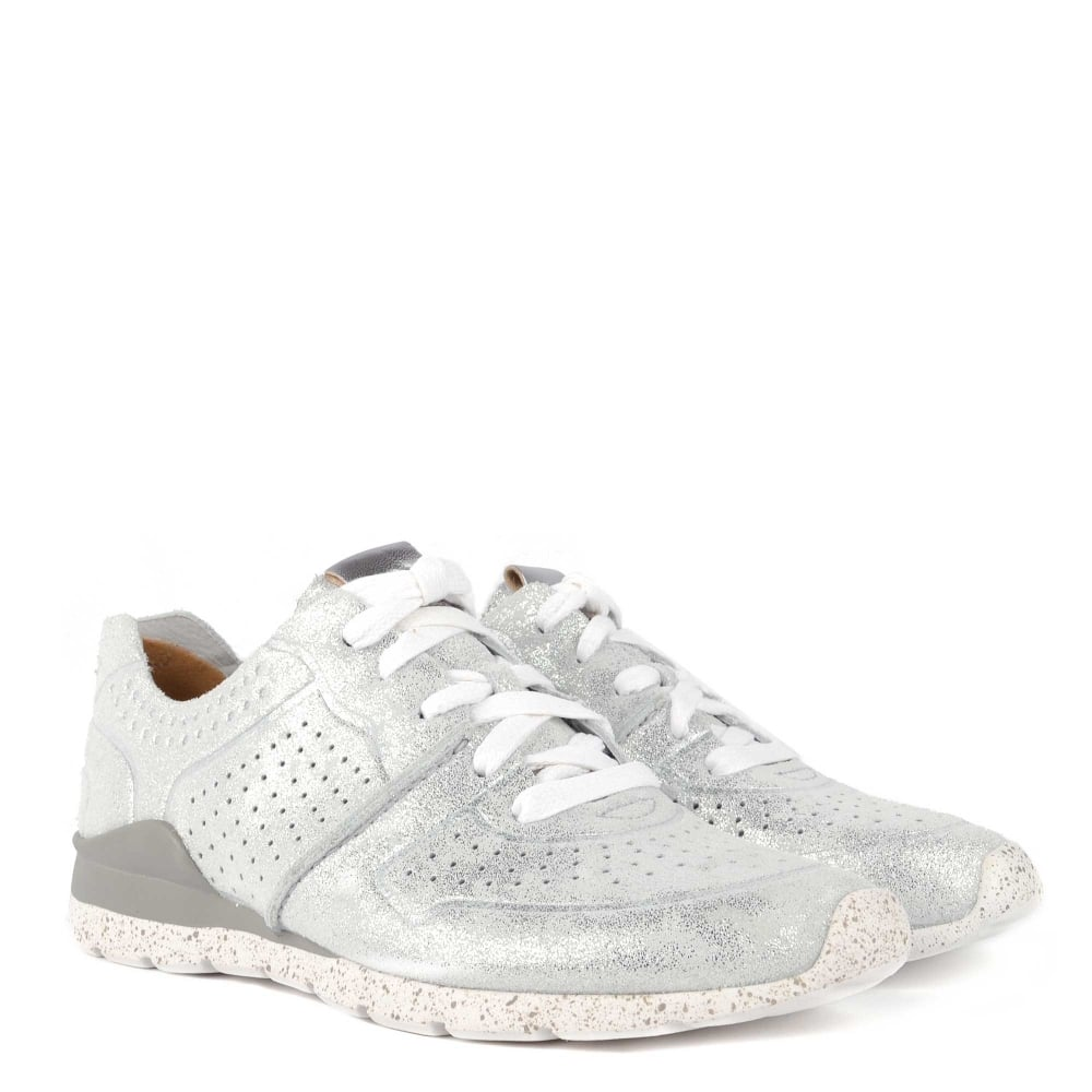 Tye Stardust Metallic Silver Leather Trainer