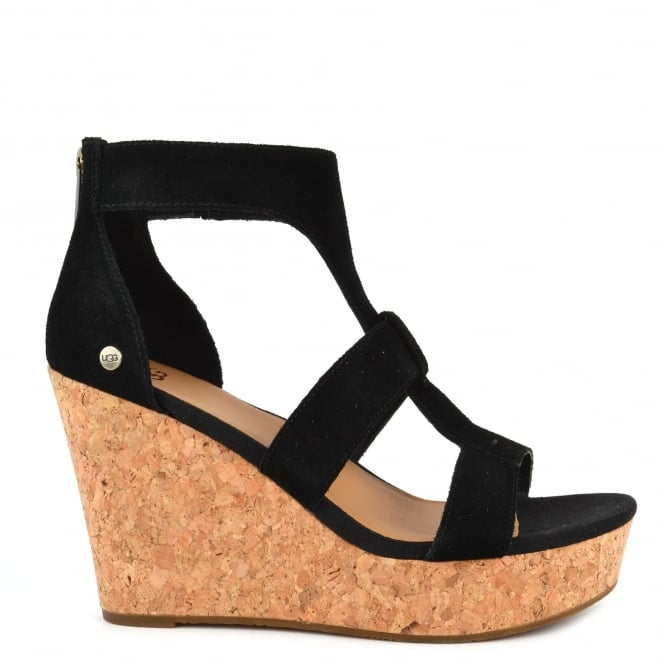 UGG Whitney Black Suede Wedge Platform Sandal