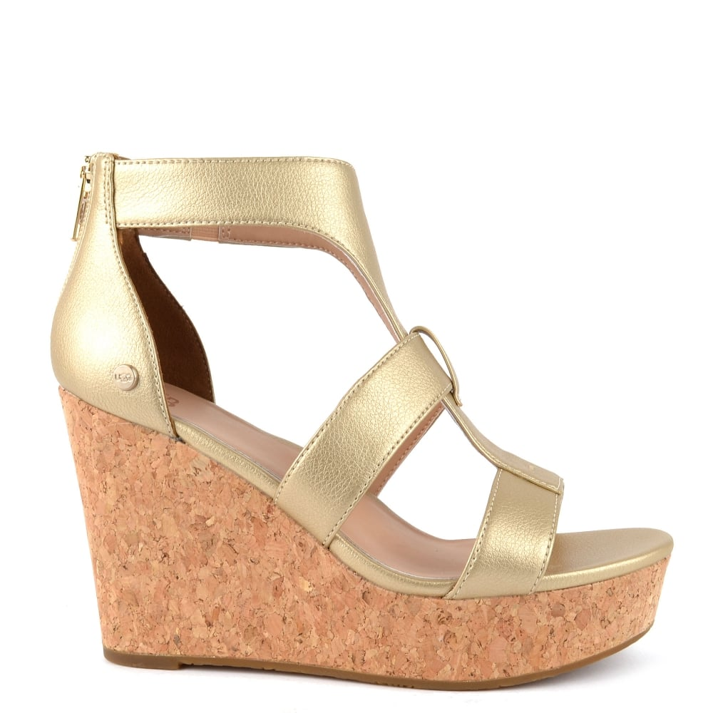 bd749b129288 UGG WHITNEY Metallic Gold Wedge Platform Sandal