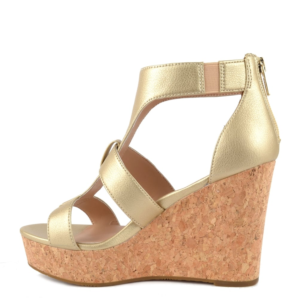 b0465af8f40 Whitney Metallic Gold Wedge Platform Sandal