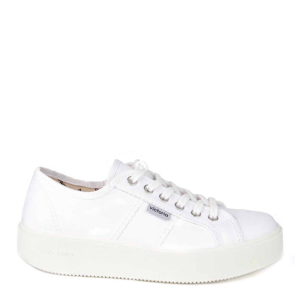 dbe5712a826 Victoria Shoes Utopia White Canvas Platform Trainer