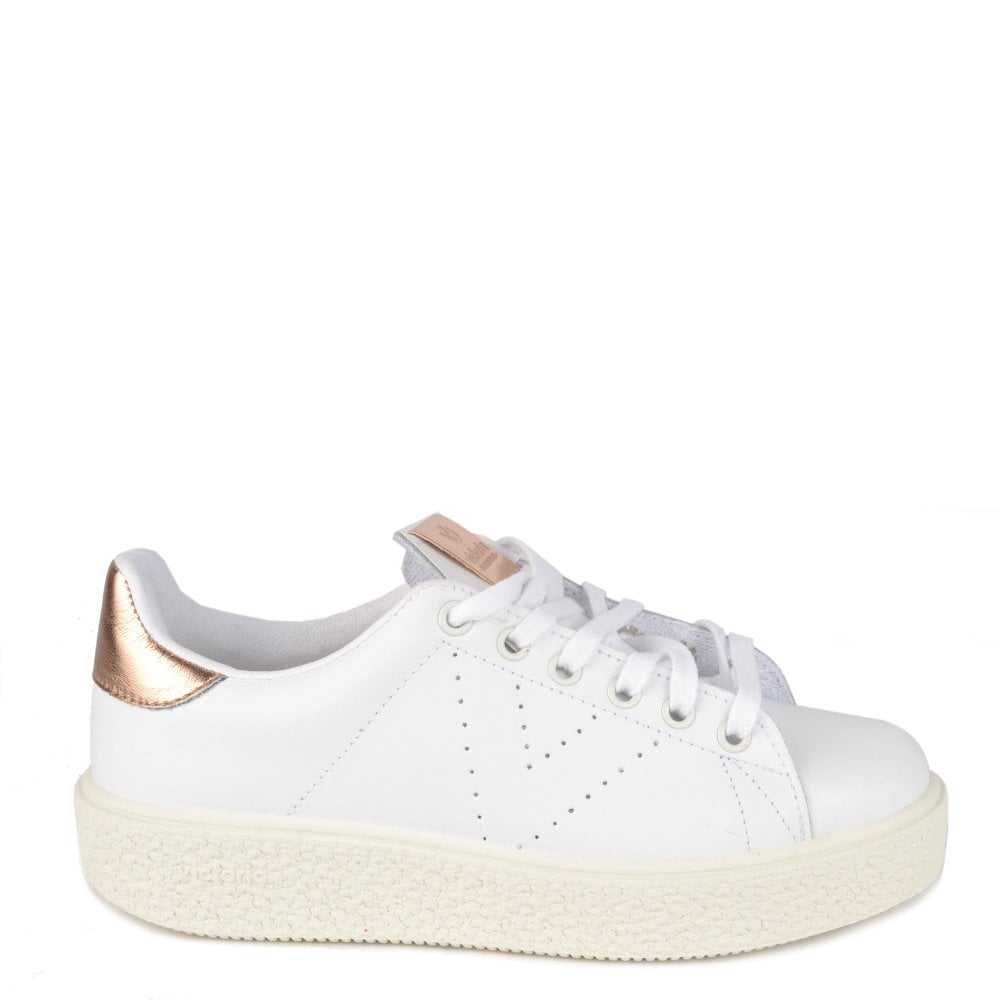 2f1d4f9579d Victoria Shoes Utopia White Leather Platform Trainer